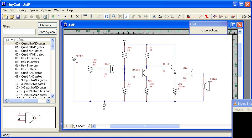 TinyCAD - бесплатный пакет с открытым исходным кодом, который ориентирован на создание электронных схем.