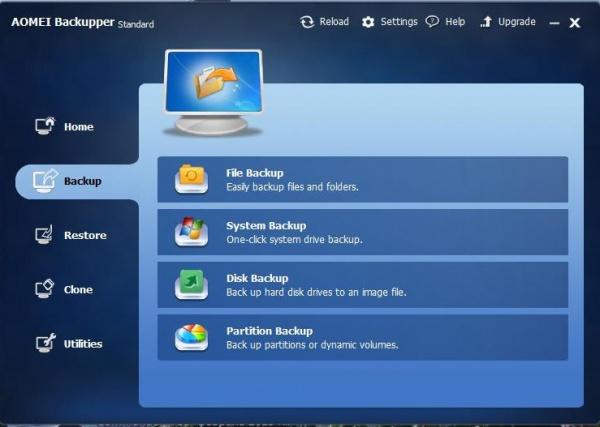 AOMEI Backupper Standard главный экран